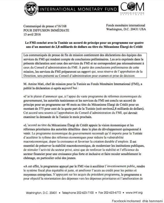communiqué fmi