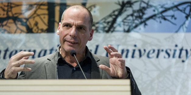 CAMPUS LUIGI EINAUDI, UNIVERSITY OF TURIN, TURIN, ITALY - 2016/03/17: The well known former Greek Finance Minister Yanis Varoufakis appointed Professor Honoris Causa by the International University College of Turin. His Lectio Magistralis (lecture) was held in the Aula Magna at the Campus Einaudi of the Università di Torino. (Photo by Nicolò Campo/Pacific Press/LightRocket via Getty Images)