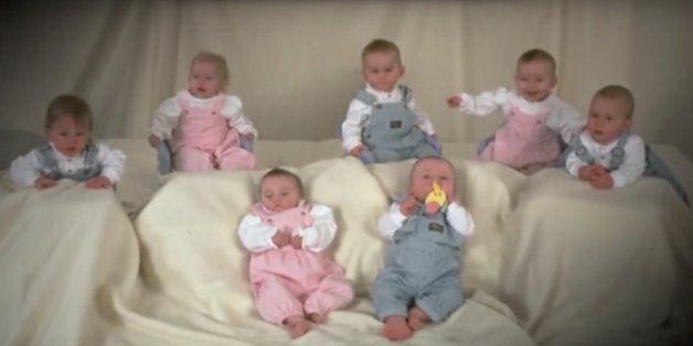 Die Siebenlinge an ihrem ersten Geburtstag.