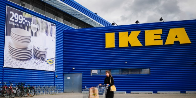 A client walks outside Europe's biggest Ikea store is pictured in Kungens Kurva, south-west of Stockholm on March 30, 2016. 