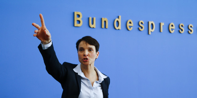 Frauke Petry, chairwoman of the anti-immigration party Alternative for Germany (AfD) speaks during a news conference in Berlin, Germany, March 14, 2016.     REUTERS/Wolfgang Rattay