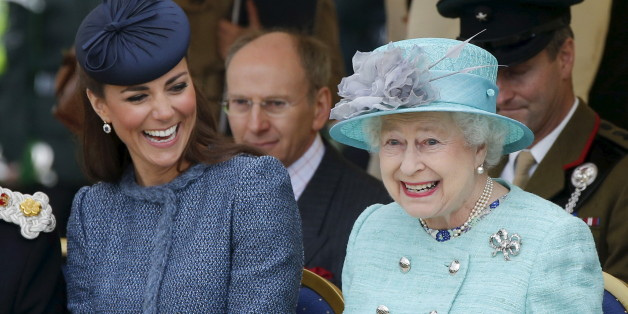 """Catherine, Duchess of Cambridge (L) laughs as Queen Elizabeth gestures while they watch a children's sports event in Nottingham, Britain in this June 13, 2012 file photo. Queen Elizabeth celebrates her 90th birthday on April 21, 2016.    REUTERS/Phil Noble/Files   SEARCH 'Queen 90th"""" FOR ALL IMAGES"""