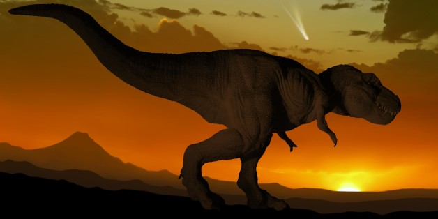 Artwork of a tyrannosaurus seen against a setting or rising sun. Tyrannosaurus was one of the very last dinosaurs, wiped out 65 million years ago during the extinction event that ended the Cretaceous period. Scientists believe that the incident was provoked by the impact of an asteroid or comet with the Earth off the coast of what is now Mexico. In this image, a comet is seen in the sky - perhaps the very comet that will one day spell doom for the dinosaurs.