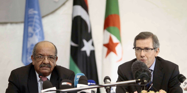 Special Representative of the Secretary-General for Libya and Head of United Nations Support Mission in Libya (UNSMIL), Bernardino Leon (R), speaks as Algeria's Minister of African and Maghreb Affairs, Abdelkader Messahel, listens as they head  talks with Libyan political leaders and rivals in Algiers, March 10, 2015. Western leaders are backing the U.N. talks as the only way to end the turmoil in Libya, where two rival governments and armed factions are battling for control and Islamist militan