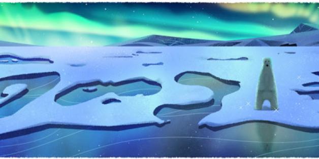 Die Nordlichter zeigt das Google Doodle am 22. April