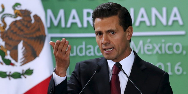 Mexico's President Enrique Pena Nieto announces the government plans to legalize marijuana-based medicines, and proposed raising the amount of the drug that can be legally carried, in the wake of a national drug policy review, in Mexico City, Mexico, April 21, 2016. REUTERS/Edgard Garrido