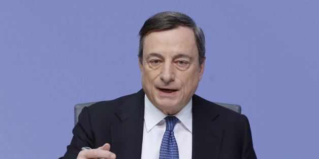 President of European Central Bank Mario Draghi  speaks during a  press conference following a meeting of the governing council in Frankfurt, Germany, Thursday, March 10, 2016.  The European Central Bank cut all its main interest rates, expanded its bond-buying stimulus program, and offered new cheap loans to banks, making an unexpectedly aggressive effort to boost inflation and economic growth in the 19 countries that share the euro.  (AP Photo/Michael Probst)