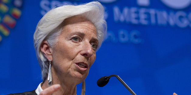 International Monetary Fund (IMF) Managing Director Christine Lagarde speaks during a news conference after the International Monetary and Financial Committee (IMFC) conference at the World Bank/IMF Spring Meetings at IMF headquarters in Washington, Saturday, April 16, 2016. ( AP Photo/Jose Luis Magana)