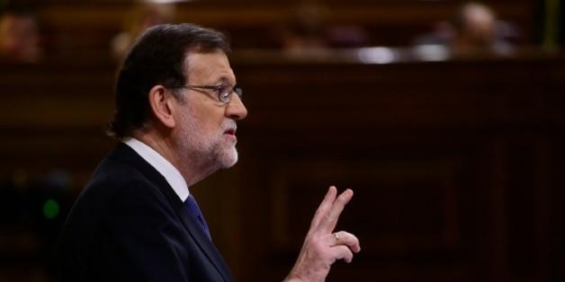 Le Premier ministre espagnol Mariano Rajoy, lors d'un débat au Parlement à Madrid le 6 avril 2016