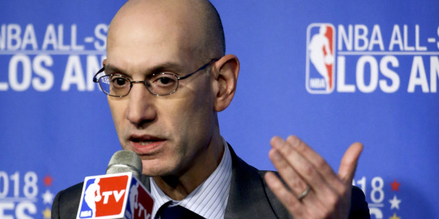 FILE - In this March 22, 2016 file photo, NBA Commissioner Adam Silver gestures during a news conference in Los Angeles. The NBA will begin selling jersey sponsorships in 2017-18, becoming the first major North American sport to put partners' logos on players' uniforms. Commissioner Adam Silver had said this step was inevitable as an additional revenue generator.  (AP Photo/Chris Carlson, File)