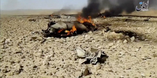 A view of the burning wreckage of a plane that crashed southeast of Damascus, Syria in this still image taken from video said to be shot April 22, 2016. The video was shared online by Islamic State-affiliated news agency Amaq. Reuters could not independently verify the video.    Social Media Website via Reuters TV  ATTENTION EDITORS - THIS IMAGE WAS PROVIDED BY A THIRD PARTY. EDITORIAL USE ONLY. NO RESALES. NO ARCHIVE.