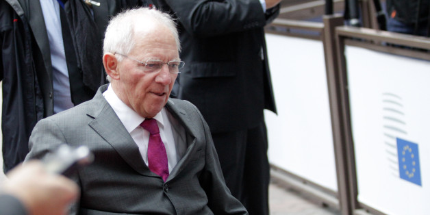 German finance minister Wolfgang Schauble arrives for a meeting of eurogroup finance ministers at the EU Council building in Brussels on Monday, Nov. 9, 2015. (AP Photo/Francois Walschaerts)