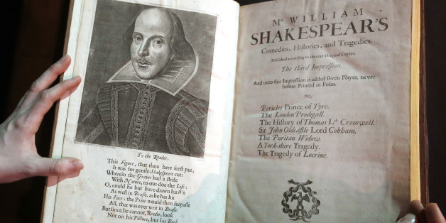 "FILE - In this March 16, 2016, file photo, a portrait of William Shakespeare is seen in the Third Folio, in London. William Shakespeare died 400 years ago Saturday, April 23, an anniversary marked across the ""sceptered isle"" and across the pond. And sports, like much else, is in Shakespeare's debt.  (AP Photo/Kirsty Wigglesworth, File)"