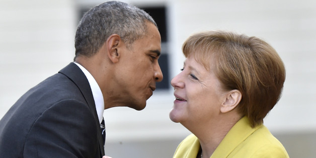 Bundeskanzlerin Angela Merkel begrüßt US-Präsident Barack Obama
