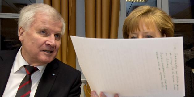 Horst Seehofer und Angela Merkel beim CSU-Parteitag in Wildbad Kreuth im Januar