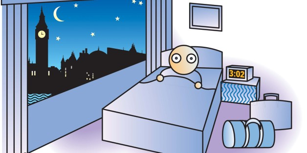 USA - 2005:  3 col x 4.25 in / 146x108 mm / 497x367 pixels Noah Musser color illustration of sleepless traveler lying wide-awake in London hotel room at 3 a.m. (The Kansas City Star/MCT via Getty Images)