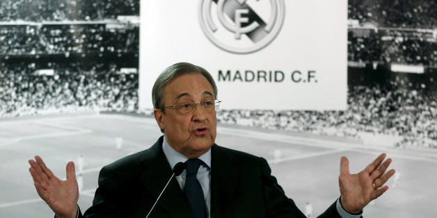 Real Madrid's President Florentino Perez speaks during a news conference at Santiago Bernabeu stadium in Madrid, Spain, November 23, 2015. Real Madrid president Florentino Perez has called a news conference to face the media after Saturday's humiliating 4-0 La Liga defeat at home to Barcelona in the 'Clasico' soccer match. REUTERS/Juan Medina
