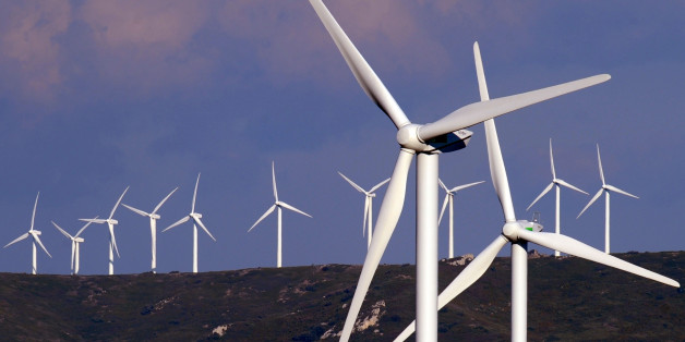 "View of wind turbines in the wind park called ""Energies Nouvelles"" (New Energies) of Lezignan Corbieres, southwestern France, in this photo taken Thursday, Feb. 21, 2008. (AP Photo/Remy Gabalda)"