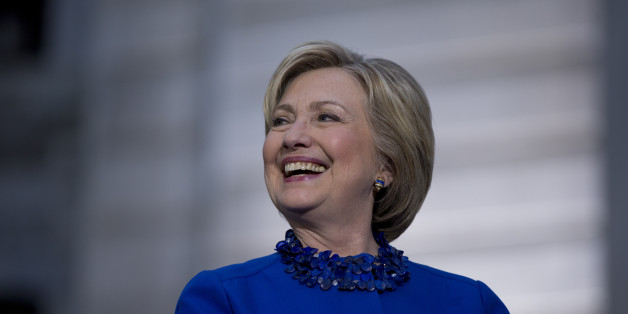 Democratic presidential candidate Hillary Clinton smiles during a campaign stop, Monday, April 25, 2016, at City Hall in Philadelphia. (AP Photo/Matt Rourke)