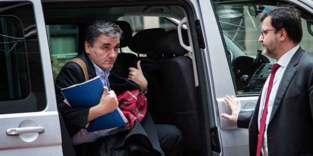 BRUSSELS, BELGIUM - 2016/02/11: Eurogroup Meeting in Brussels with the Finance Ministers of the European Union. Euclid Tsakalotos, Finance Minister of Greece, arriving at the meeting. (Photo by Aurore Belot/Pacific Press/LightRocket via Getty Images)