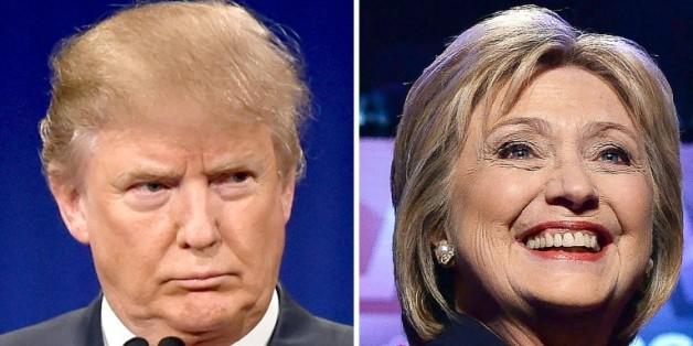 Le candidat à l'investiture républicaine Donald Trump, le 14 janvier 2016, et la candidate à l'investure démocrate Hillary Clinton, le 4 février 2016
