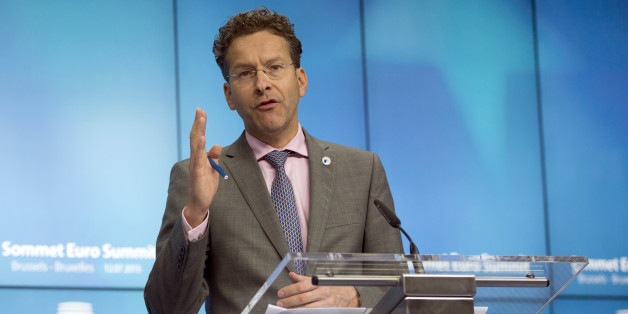 "Dutch Finance Minister and chair of the eurogroup finance ministers Jeroen Dijsselbloem speaks during a media conference after a meeting of eurozone heads of state at the EU Council building in Brussels on Monday, July 13, 2015.  A summit of eurozone leaders reached a tentative agreement with Greece on Monday for a bailout program that includes ""serious reforms"" and aid, removing an immediate threat that Greece could collapse financially and leave the euro. (AP Photo/Virginia Mayo)"