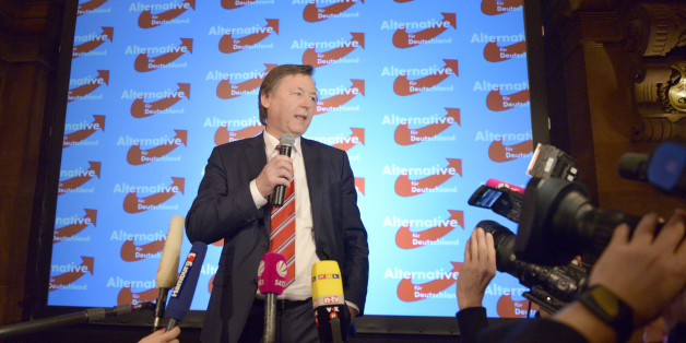 HAMBURG, GERMANY - FEBRUARY 15:   Joern Kruse of the AfD (Alternative fuer Deutschland, or Alternative for Germany) political party speaks after to preliminary election results that give them 6,1% of the vote in Hamburg state elections on February 15, 2015 in Hamburg, Germany. The AfD, still a relative newcomer on the German political landscape, has positioned itself right of center on a Euro-sceptic and at times populist platform. (Photo by Patrick Lux/Getty Images)