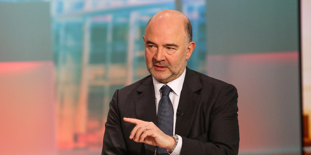 Pierre Moscovici, economic and financial affairs commissioner for the European Union (EU), speaks during a Bloomberg Television interview in New York, U.S., on Monday, April 18, 2016. The International Monetary Fund must remain part of Greece's rescue, Moscovici said, after the Washington D.C.-based lender raised concerns about the debt-addled nation's ability to keep up repayments under the existing bailout plan. Photographer: Chris Goodney/Bloomberg via Getty Images