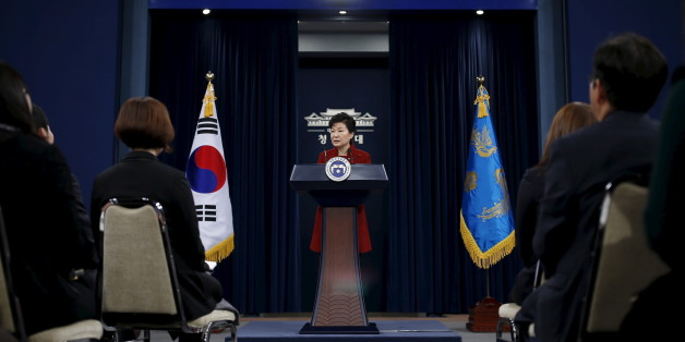 South Korean President Park Geun-hye answers reporters' question during her New Year news conference at the Presidential Blue House in Seoul, South Korea, January 13, 2016.  REUTERS/Kim Hong-Ji