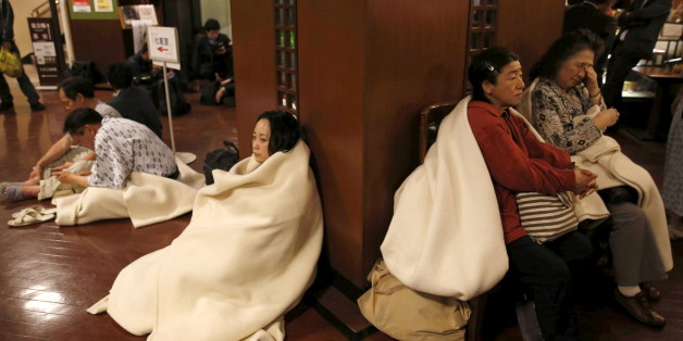 Hotel guests gather at the lobby after another earthquake hit the area in Kumamoto, southern Japan, in this photo taken by Kyodo April 16, 2016. Mandatory credit REUTERS/Kyodo  ATTENTION EDITORS - FOR EDITORIAL USE ONLY. NOT FOR SALE FOR MARKETING OR ADVERTISING CAMPAIGNS. THIS IMAGE HAS BEEN SUPPLIED BY A THIRD PARTY. IT IS DISTRIBUTED, EXACTLY AS RECEIVED BY REUTERS, AS A SERVICE TO CLIENTS. MANDATORY CREDIT. JAPAN OUT. NO COMMERCIAL OR EDITORIAL SALES IN JAPAN.