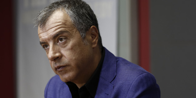 Stavros Theodorakis, leader of the To Potami party, pauses during a Bloomberg Television interview in Athens, Greece, on Thursday, Aug. 27, 2015. Former Greek Prime Minister Alexis Tsipras's refusal to cooperate with pro-European parties after next month's ballot may complicate the formation of a government and force voters back to the ballots, River party leader Theodorakis said. Photographer: Kostas Tsironis/Bloomberg via Getty Images