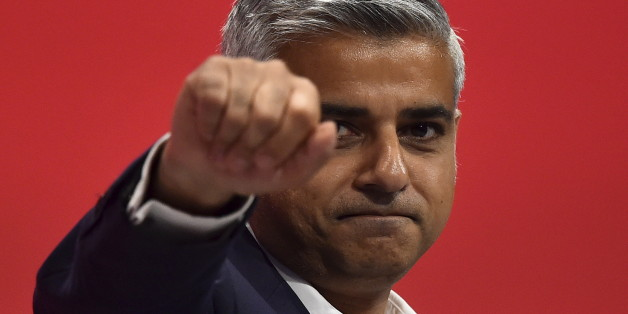 London mayoral candidate Sadiq Khan gestures as he delivers his speech at the Labour Party conference at Brighton, Britain, September 30, 2015. REUTERS/Toby Melville