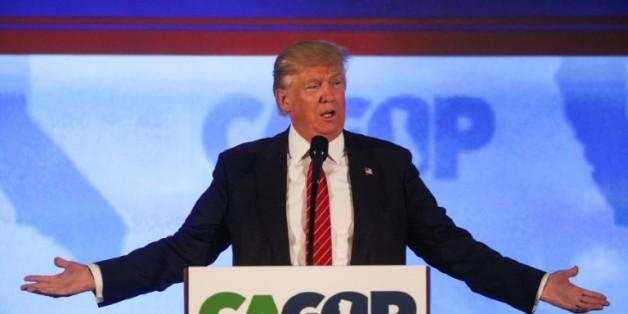 Donald Trump candidat à l'investiture républicaine, lors d'un discours le 29 avril 2016 à Burlingame (Californie)