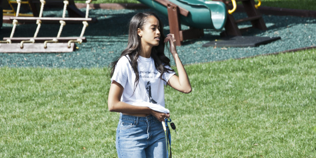 WASHINGTON, DC - MARCH 28:  Malia Obama, President Barack Obama and First Lady Michelle Obama's oldest daughter, walks along the South Lawn after she  participated in the annual White House Easter Egg roll and assorted activities.  The South Lawn of the White House was filled with people enjoying the activities March 28, 2016. Credit: RTNLynch/MediaPunch/IPX