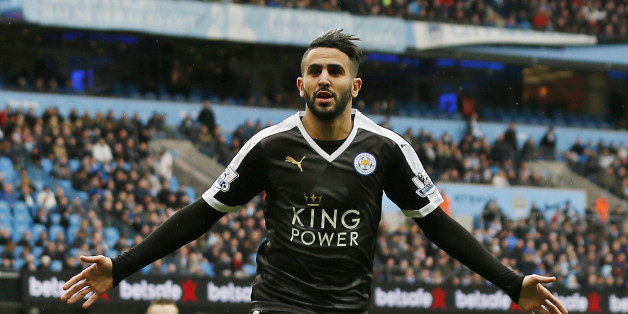 """Football - Manchester City v Leicester City - Barclays Premier League - Etihad Stadium - 6/2/16Leicester City's Riyad Mahrez celebrates scoring their second goalAction Images via Reuters / Jason CairnduffLivepicEDITORIAL USE ONLY. No use with unauthorized audio, video, data, fixture lists, club/league logos or """"live"""" services. Online in-match use limited to 45 images, no video emulation. No use in betting, games or single club/league/player publications.  Please contact your account representati"""
