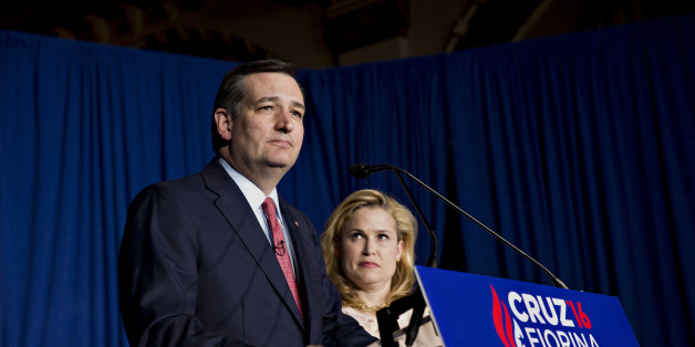 Senator Ted Cruz, a Republican from Texas and 2016 presidential candidate, pauses while speaking as his wife Heidi Cruz, right, looks on during a campaign event in Indianapolis, Indiana, U.S., on Tuesday, May 3, 2016. Real-estate developer Donald Trump is the presumptive Republican presidential nominee after his top challenger, Cruz, dropped out after a crushing defeat in Tuesday's Indiana primary. Photographer: Daniel Acker/Bloomberg via Getty Images