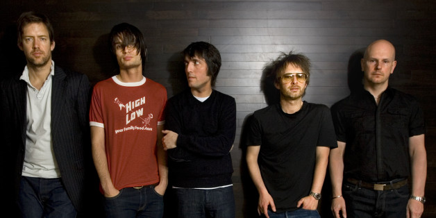 Radiohead band members, from left, Ed O'Brien, guitar, Jonny Greenwood, lead guitar, Colin Greenwood, bass guitar, Thom Yorke, lead vocalist, and drummer Phil Selwayan pose in their hotel room, Tuesday, May 13, 2008, in Washington. (AP Photo/J. Scott Applewhite)