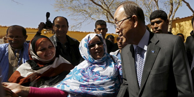 U.N. Secretary General Ban Ki-moon (L) listens to a member of the Sahrawi women's national union after his press conference at the Sahrawi Arab Democratic Republic presidential palace in Tindouf southern Algeria March 5, 2016. REUTERS/Zohra Bensemra
