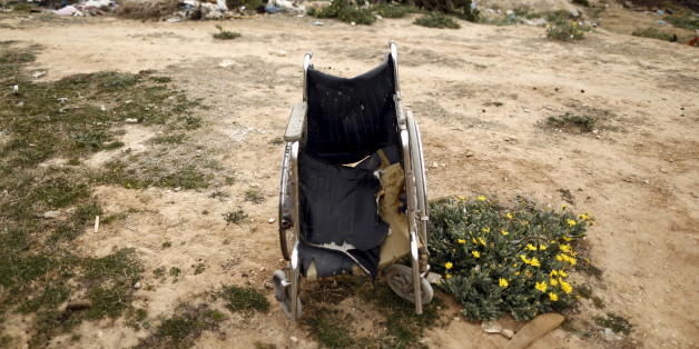 A wheelchair is seen at the impoverished Zhor neighborhood of Kasserine, where young people have been demonstrating for jobs since last week, January 28, 2016. REUTERS/Zohra Bensemra