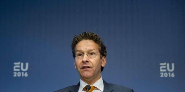 Chairman of Eurogroup Jeroen Dijsselbloem speaks during the meeting of the Eurozone finance ministers at the Scheepvaartmuseum in Amsterdam, on April 22, 2016.  Eurozone finance ministers meet to discuss Greek bailout and the Panama Papers fallout.  / AFP / ANP / Bart Maat / Netherlands OUT        (Photo credit should read BART MAAT/AFP/Getty Images)