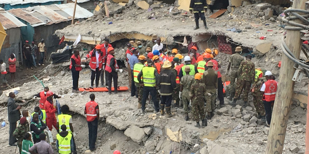 Rescue workers continue to search for survivors in Huruma neighbourhood in the rubble of a six-storey building that collapsed in Nairobi, Kenya, May 5, 2016.     REUTERS/Thomas Mukoya