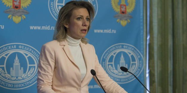 MOSCOW, RUSSIA - APRIL 21: Russian Foreign Ministry's Spokesperson Maria Zakharova speaks during a press conference at Russian Foreign Ministry building in Moscow, Russia on April 21, 2016. (Photo by Nikita Shvetsov/Anadolu Agency/Getty Images)