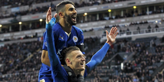 """Jamie Vardy celebrates with Riyad Mahrez after scoring the first goal for Leicester City during their English Premier League soccer match against Newcastle United at St James' Park in Newcastle, Britain, in this November 21, 2015 file photo. To match Feature SOCCER-ENGLAND/LEI-WORLD  REUTERS/Craig Brough/Files   FOR EDITORIAL USE ONLY. NOT FOR SALE FOR MARKETING OR ADVERTISING CAMPAIGNS. NO USE WITH UNAUTHORIZED AUDIO, VIDEO, DATA, FIXTURE LISTS, CLUB/LEAGUE LOGOS OR """"LIVE"""" SERVICES. ONLINE IN-M"""