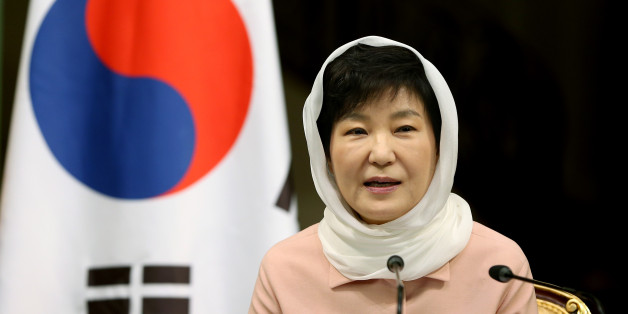 "South Korean President Park Geun-hye speaks to the media in a joint press conference with Iranian President Hassan Rouhani after their meeting at the Saadabad Palace in Tehran, Iran, Monday, May 2, 2016. Rouhani met with visiting South Korean President Park Geun-hye and said Iran seeks a world free of weapons of mass destruction, ""especially nuclear"" weapons. (AP Photo/Ebrahim Noroozi)"