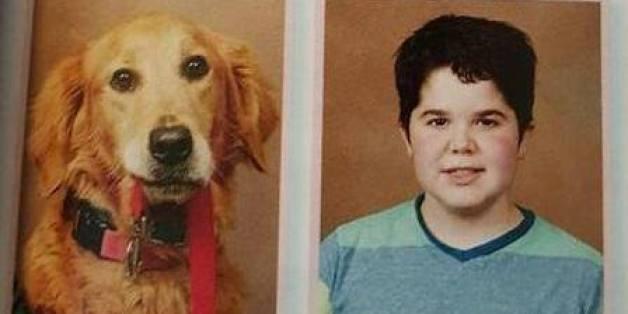 Seph Ware und seine Hündin Presley stehen im Jahrbuch der Good Hope Mittelschule