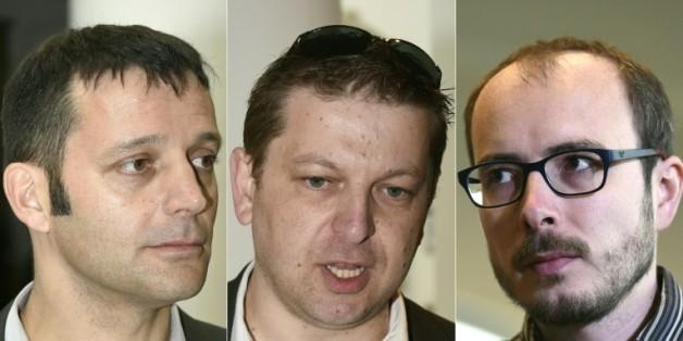 Montage réalisé le 26 avril 2016 de portraits du journaliste Edouard Perrin, et des lanceurs d'alerte Raphaël Halet et Antoine Deltour, au Palais de Justice de Luxembourg