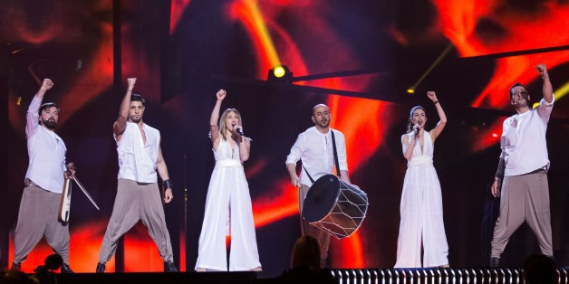 STOCKHOLM, SWEDEN - MAY 9: Group Argo of Greece performs during dress rehearsal of 2016 Eurovision Song Contest at Ericsson Globe Arena in Stockholms, Sweden on May 9, 2016. 18 semifinalists will be voted by the jury during semifinals of Eurovision Song Contest. (Photo by Mehmet Kaman/Anadolu Agency/Getty Images)