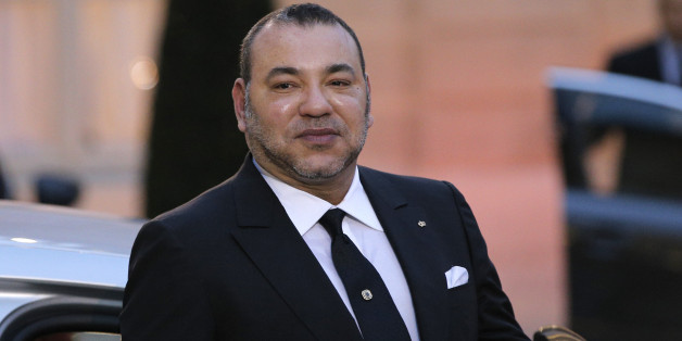 Morocco's King Mohammed VI poses as he leaves after a meeting with France's President Francois Hollande at the Elysee Palace, in Paris, France, Monday, Feb. 9, 2015. (AP Photo/Christophe Ena)