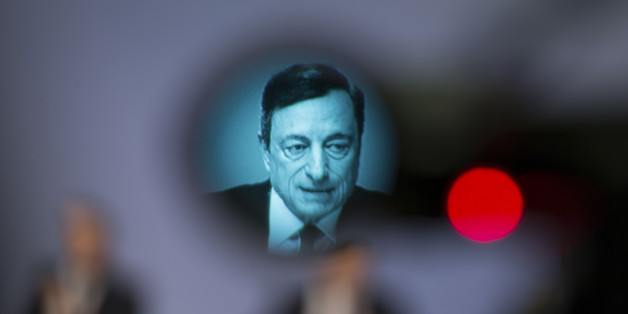 Mario Draghi, president of the European Central Bank (ECB), is displayed on a television camera viewfinder during a news conference to announce the bank's interest rate decision at the ECB headquarters in Frankfurt, Germany, on Thursday, April 21, 2016. The ECB left its interest rates at record lows and kept the size of its bond-buying program unchanged as Draghi waits to see how fresh stimulus measures announced last month affect the economy. Photographer: Jasper Juinen/Bloomberg via Getty Images
