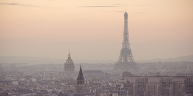 View of the Eiffel Tower and city of Paris during dusk.